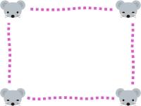 四隅のかわいいネズミのピンク点線フレーム飾り枠イラスト