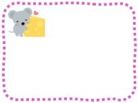 かわいいネズミとチーズのピンクの点線フレーム飾り枠イラスト