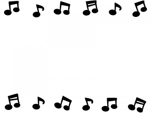 音符の白黒上下フレーム飾り枠イラスト 無料イラスト かわいいフリー