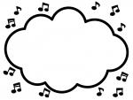 音符の白黒モコモコフレーム飾り枠イラスト