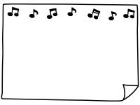 音符とめくれた紙の白黒フレーム飾り枠イラスト
