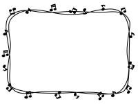音符と手書き線の白黒囲みフレーム飾り枠イラスト