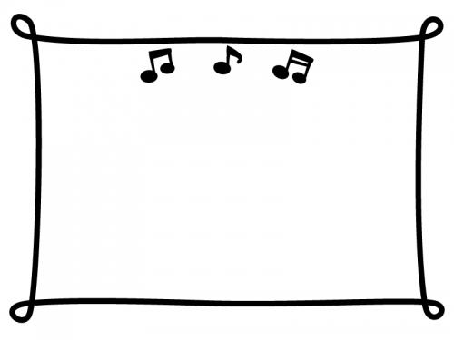 四隅が丸まった線と音符の白黒フレーム飾り枠イラスト