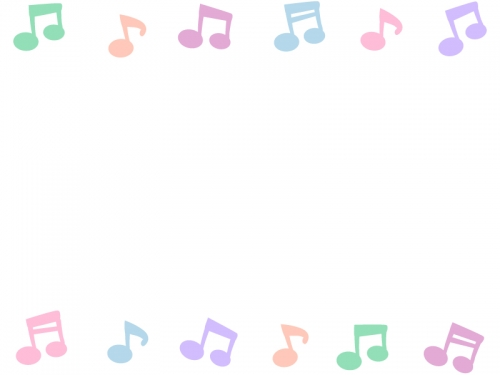 パステルカラーの音符の上下フレーム飾り枠イラスト