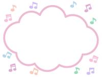 パステルカラーの音符のモコモコフレーム飾り枠イラスト