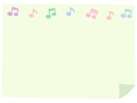 パステルカラーの音符とめくれた紙のフレーム飾り枠イラスト