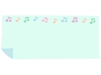 パステルカラーの音符とめくれた紙の青フレーム飾り枠イラスト