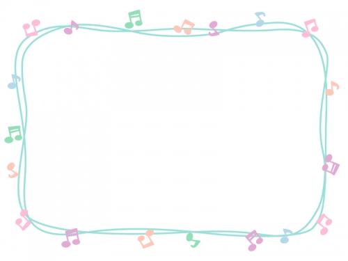 パステルカラーの音符の手書き囲みフレーム飾り枠イラスト