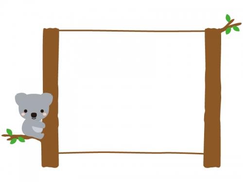 木に掴まるコアラの看板風フレーム飾り枠イラスト