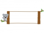 木に掴まるコアラの看板風横長フレーム飾り枠イラスト
