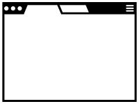 ウェブブラウザ風白黒フレームの飾り枠イラスト