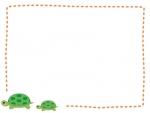 かわいい二匹のカメの点線フレームの飾り枠イラスト