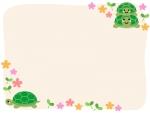 かわいいカメたちとお花のフレーム飾り枠イラスト