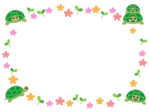 かわいいカメたちとお花の囲みフレーム飾り枠イラスト