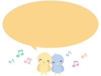 かわいい小鳥と音符の吹き出しフレーム飾り枠イラスト