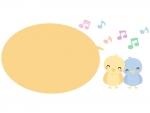 かわいい小鳥と音符の吹き出し横長フレーム飾り枠イラスト