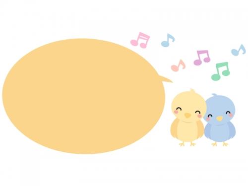かわいい小鳥と音符の吹き出し横長フレーム飾り枠イラスト 無料