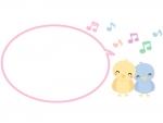 かわいい小鳥と音符の吹き出しピンクフレーム飾り枠イラスト