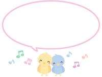 かわいい小鳥と音符の吹き出しピンク線フレーム飾り枠イラスト