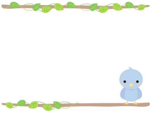 枝に止まる小鳥のフレーム飾り枠イラスト 無料イラスト かわいいフリー