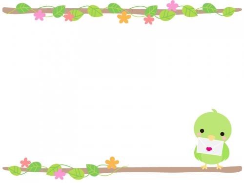 手紙をくわえた小鳥のフレーム飾り枠イラスト