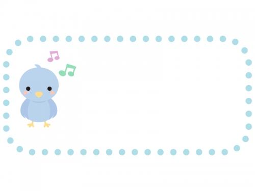 かわいい小鳥と音符の水色点線フレーム飾り枠イラスト