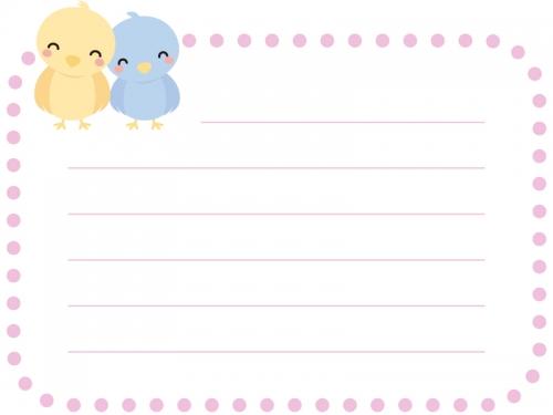 2羽の小鳥の罫線つきピンク点線フレーム飾り枠イラスト