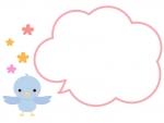 羽を広げた小鳥と花のフレーム飾り枠イラスト