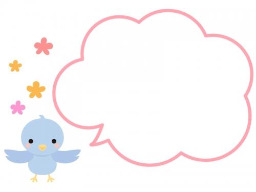羽を広げた小鳥と花のフレーム飾り枠イラスト 無料イラスト かわいい