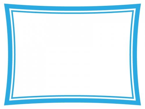 青色のシンプルな二重線のフレーム飾り枠イラスト