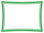 緑色のシンプルな二重線のフレーム飾り枠イラスト