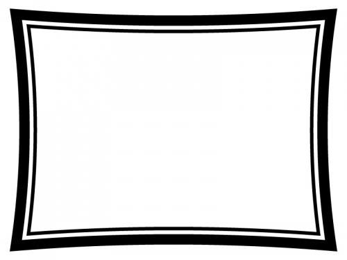 白黒のシンプルな二重線のフレーム飾り枠イラスト