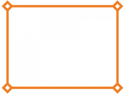 オレンジ色のシンプルな線のフレーム飾り枠イラスト