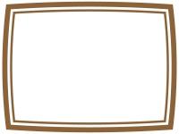 茶色のシンプルな二重線のフレーム飾り枠イラスト