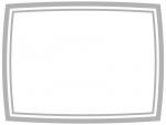 グレーのシンプルな二重線のフレーム飾り枠イラスト
