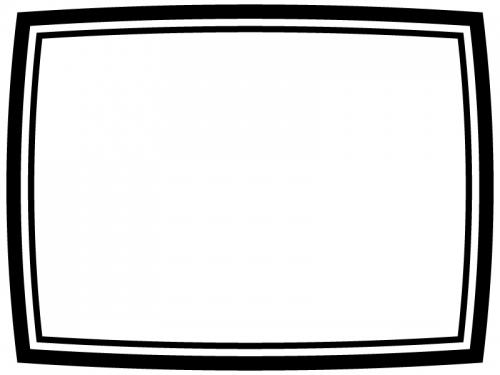 白黒のシンプルな二重線のフレーム飾り枠イラスト02