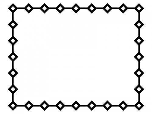 白黒のひし形(ダイヤ)で囲ったシンプルフレーム飾り枠イラスト