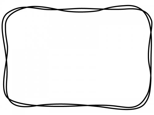 白黒の手書き風二重線のシンプルフレーム飾り枠イラスト