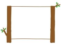 木の看板風フレーム飾り枠イラスト
