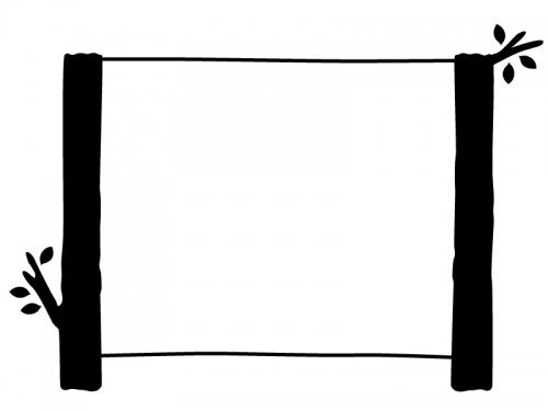 白黒の木の看板風フレーム飾り枠イラスト