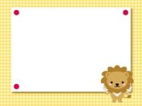 食事をするライオンのチェックフレーム飾り枠イラスト