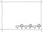 きのことステッチの白黒フレーム飾り枠イラスト