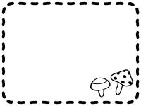 きのこと手書き風点線の白黒フレーム飾り枠イラスト