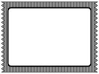 ストライプのテープ風の白黒フレーム飾り枠イラスト