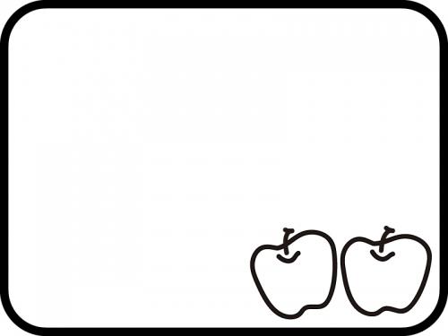 2つのりんごの白黒フレーム飾り枠イラスト