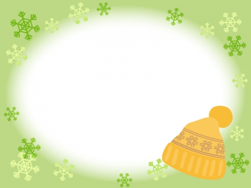 黄色いニット帽子と雪の結晶の黄緑フレーム飾り枠イラスト