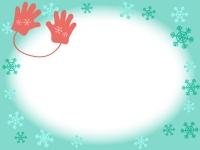赤い手袋と雪の結晶の水色フレーム飾り枠イラスト