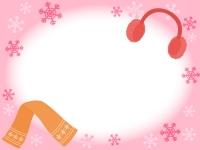 耳当てとマフラーのピンク色フレーム飾り枠イラスト