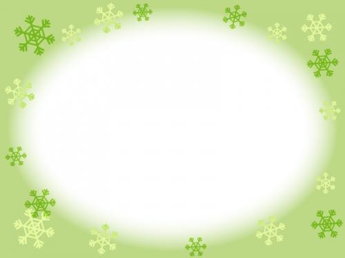 雪の結晶の黄緑フレーム飾り枠イラスト