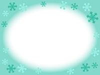 雪の結晶の水色フレーム飾り枠イラスト